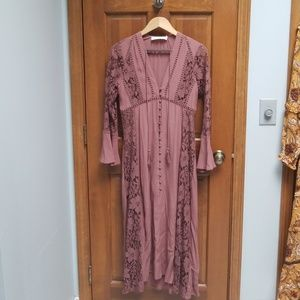 ASTR Nordstrom boho mauve midi dress size Small